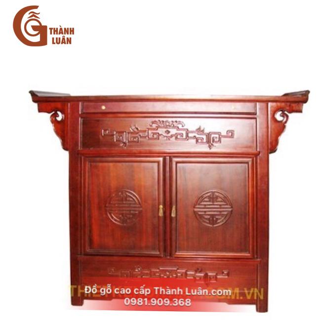 Tủ thờ chung cư TG04 thiết kế hạn chế hoa văn, mặt trơn ấn tượng